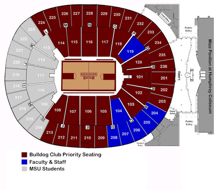 Humphrey coliseum seating chart men s basketball mississippi state