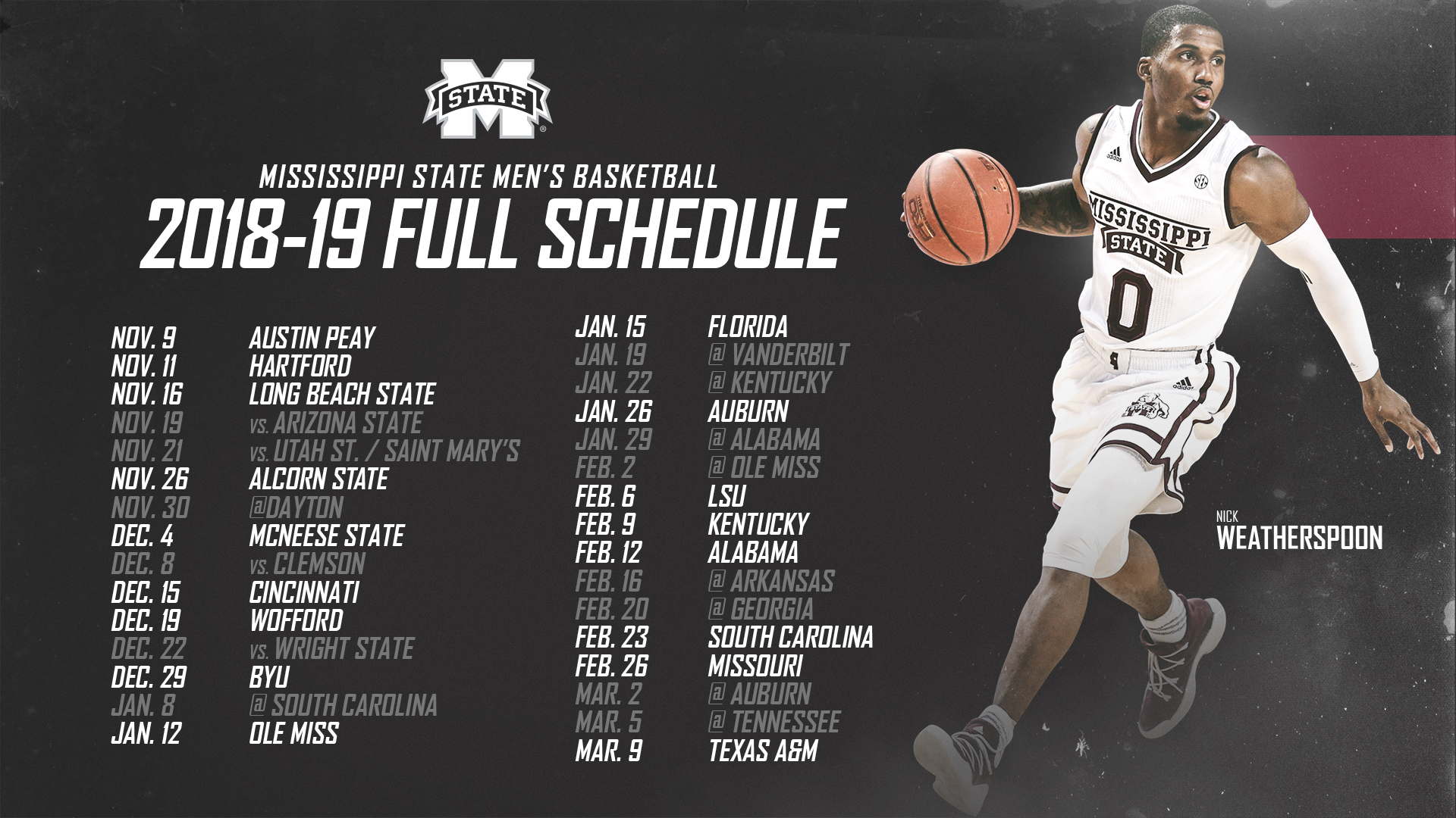 MSU Unveils 2018-19 Men s Basketball Schedule - Mississippi State 9465ee093