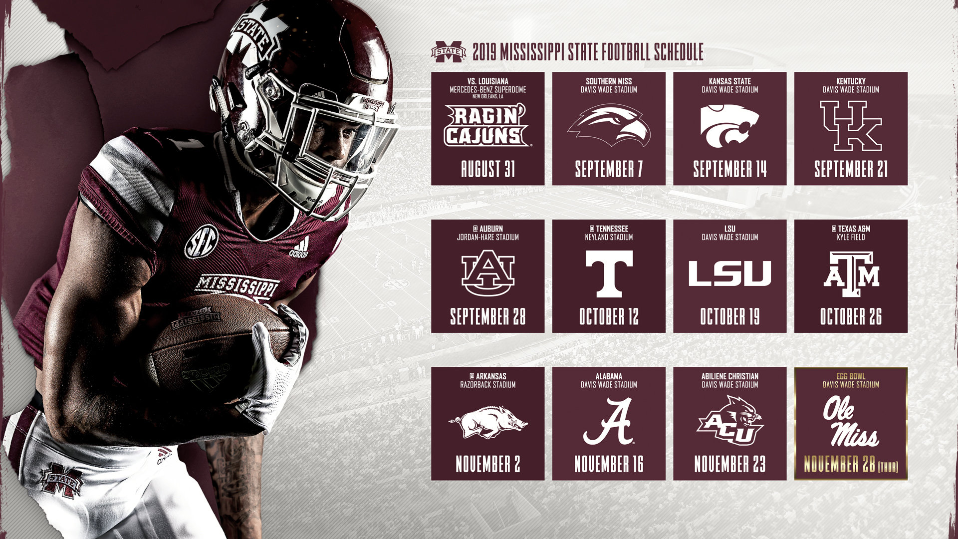 2019 football schedule unveiled mississippi state university athletics
