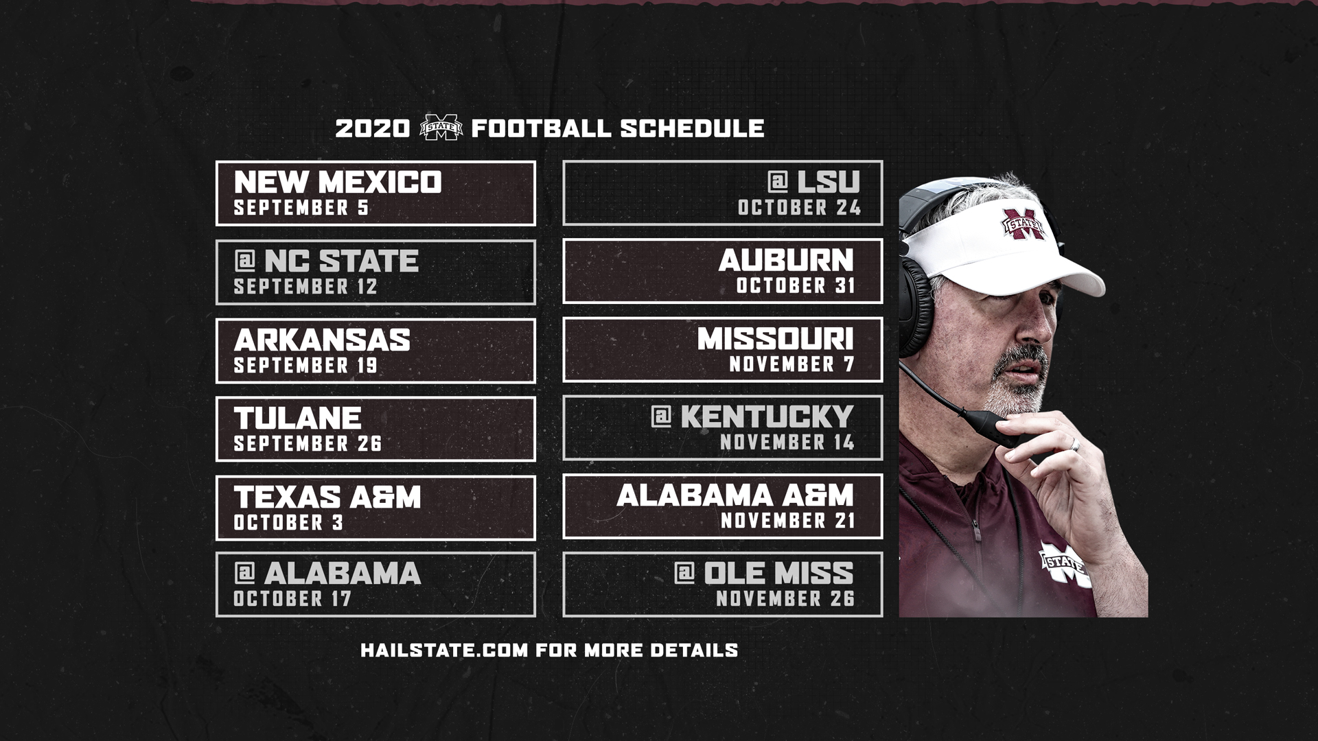 Mu Football Schedule 2020 2020 Football Schedule Announced   Mississippi State